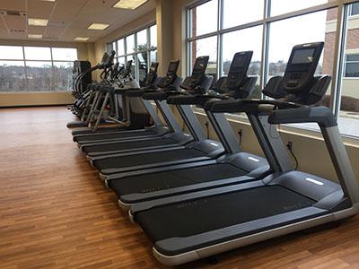 Treadmills near a window